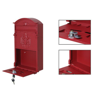 DurableVintage Retro Cast Iron Wall Mount Letter Safe Box Post Lock box