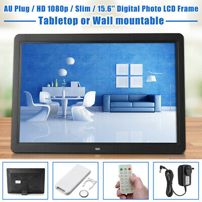 Slim 15.6'' Digital Photo LCD Frame HD 1080p USB MP3 Audio Video Remote 1366x768