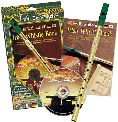 Faedog Irish Tin Penny Whistle in D Learn How To Play - Whistle, Music Book & CD