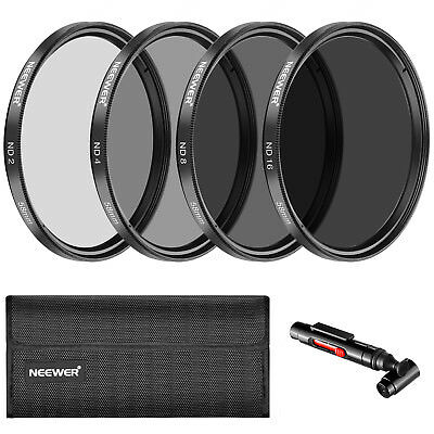 Neewer 58MM ND2 ND4 ND8 ND16 Filter and Pouch for Canon EOS Rebel T6i T6 T5i