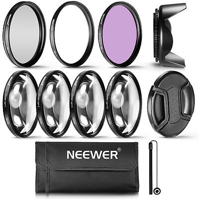 Neewer 58mm UV CPL FLD Filter Close-Up Accessory Kit f Canon 700D 650D 550D