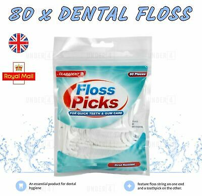 80 Dental Floss Sticks & Tooth Picks Teeth Plaque Remover Interdental 2 in 1 UK