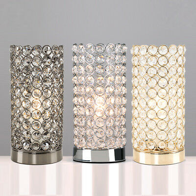 K9 Crystal Glass Jewels Cylinder Touch Table Lamp LED Lounge Dimmable  Lighting