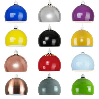 Modern Retro Domed Metal Ceiling Pendant Light Shade Lampshade Easy Fit Shades