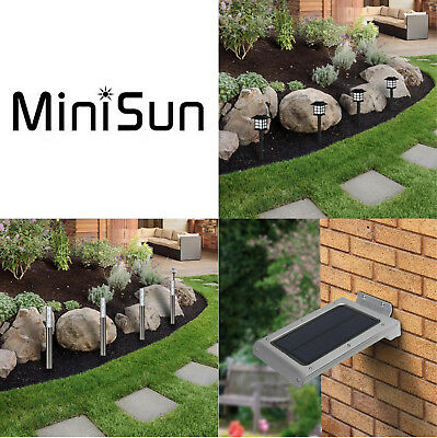 Outside Solar Powered LED Garden Lights Wall Panel Ground Spike Outdoor  Lighting