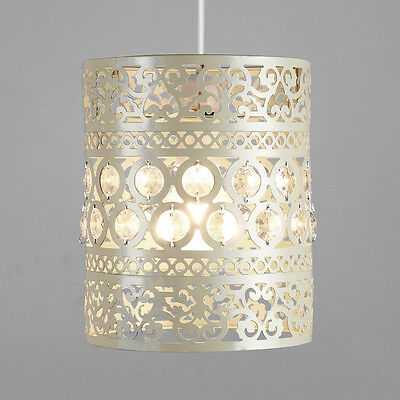 Cream Ornate Moroccan Style Metal Ceiling Pendant Light Shade Lantern Lampshade