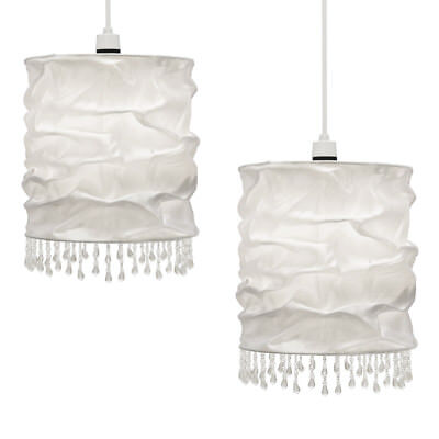 Pair of Modern White Faux Silk Fabric Beaded Ceiling Light Shades Lampshades