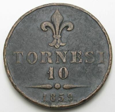 NAPLES & SICILY Dieci (10) Tornesi 1859 - Copper - Francesco II. - F - 3540
