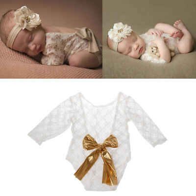 Photography Newborn Baby Prop Lace Romper with Big Bow Photo Shoot Outfit Gift