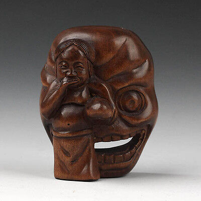 "1940's Japanese handmade Boxwood Netsuke ""Girl With Sexy Mask"" Figurine Carving"