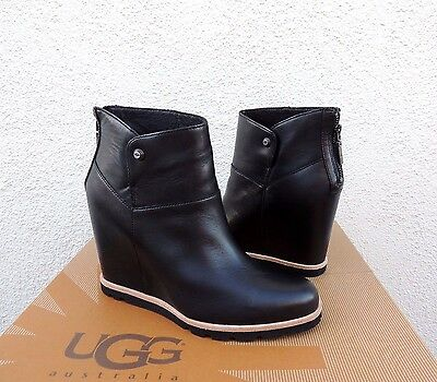 "Ugg Amal Black Leather/ Sheepskin 3"" Wedge Ankle Boots, Us 6.5/ Eur 37.5  ~Nib"