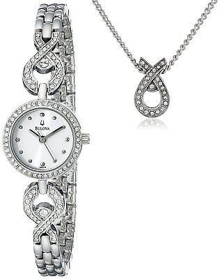 Bulova Women's Silver Tone Crystal Accented Watch and Necklace Set 96X115