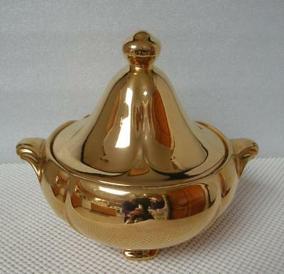 Antique GOLD LUSTRE Royal Winton GRIMWADES Lidded Bowl Candy Dish England 1940's
