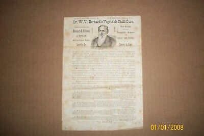 Vintage Sells Ad from the 1800s Dr W.V. Bernards Vegetable Chill Cure