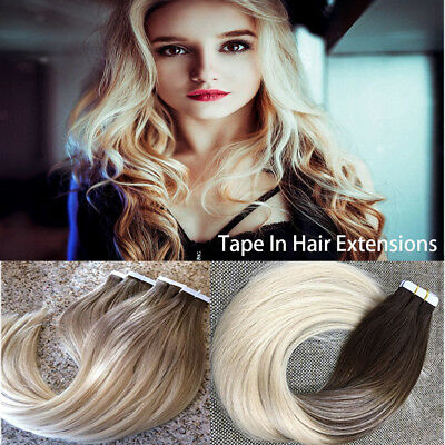 Brazilian Tape in Skin Weft 100% Remy Human Hair Extensions Real 40pcs/100g