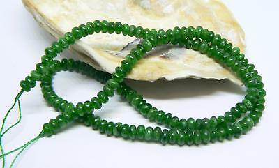 """NATURAL GREEN RUSSIAN CHROME DIOPSIDE RONDELLE BEADS 4.75-5mm 15.75"""" STRAND"""