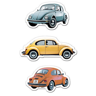 Officially Licensed Volkswagen Beetle Fridge Magnets Set of 3 - 2 Designs VW New