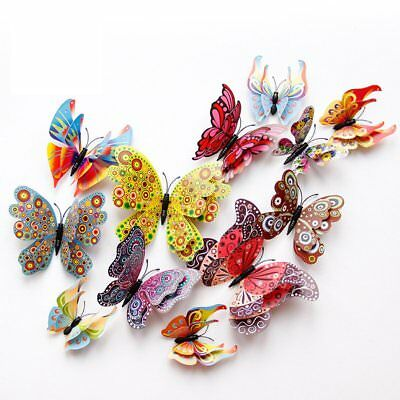 12Pcs 3D Butterfly Double-Deck Wall Stickers PVC Children Room Decal Home Decor
