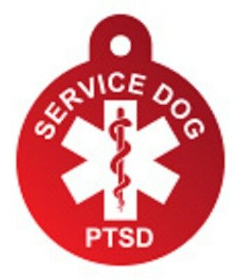 Customized Service Dog Tag Identification Metal Engraved Pet ID Red PTSD Shield