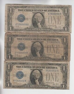 Silver Certificate $1 1928-B 3 notes lower grade