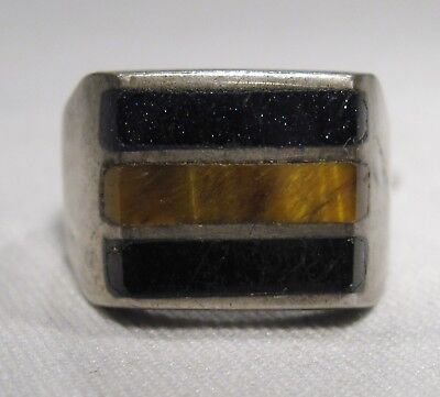 Vintage Heavy Large Sterling Silver Taxco Men's Inlay Ring L376