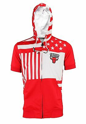 ZIPWAY NBA MEN S Chicago Bulls Full Zip Flag Short Sleeve Hoodie ... f1dbc0616c84