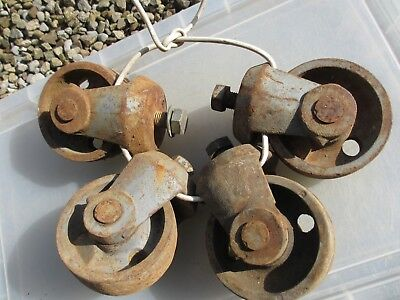 Large Vintage Cast Iron Castors Wheels Industrial Factory x4 Old French  21kg