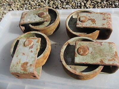Large Vintage Cast Iron Castors Wheels Industrial Factory x4 Old French  19kg