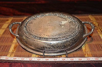 Vintage Silverplate Replacement Lid Dome Oval Shape 2 Handles Floral Leaf Design