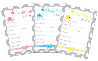 Baby Shower Predictions - Grey & white dots Pack Of 16 - available In 3 Colours