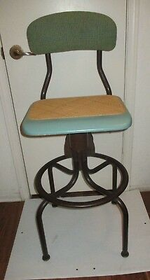Vtg. WESTERN ELECTRIC Telephone Operator's Chair Woven Wood Seat & Padded Back