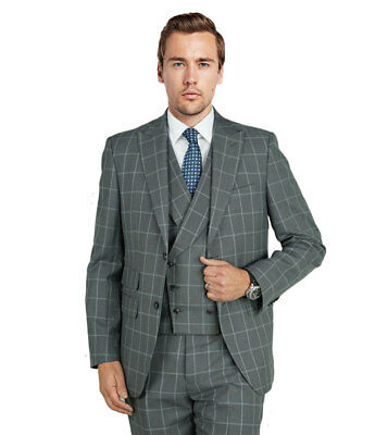 Checkered Windowpane Gray Euro Slim Suit 2 button Viscose blends with vest