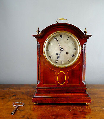 Antique Edwardian Bracket Mantel Clock by Jean Vincenti Paris Gong Chiming 8 Day
