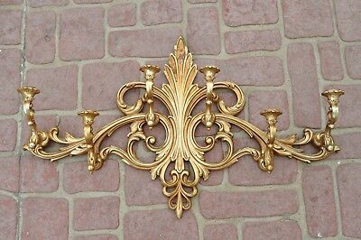 Large RARE Gold Syroco Wall Mounted Candle Holder Hollywood Regency Midcentury