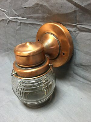 Vtg Copper Porch Sconce Light Arts Crafts Glass Shade Old Wall Fixture 13-18J
