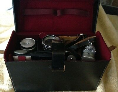 Vintage LEICA METER CAMERA w/ lenses,large case for items etc.  WORKS