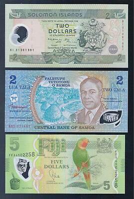 South Pacific, 3 Different Polymer Banknotes, ALL CRISP UNC!!