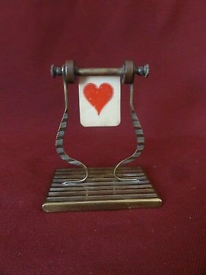 Antique Art Deco Sm. Brass Stand-Holding Celluoid Playing Card-Unusual Shape