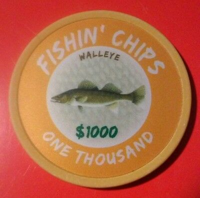 Walleye $1000.00 Poker Chip Great For Any Collection New!