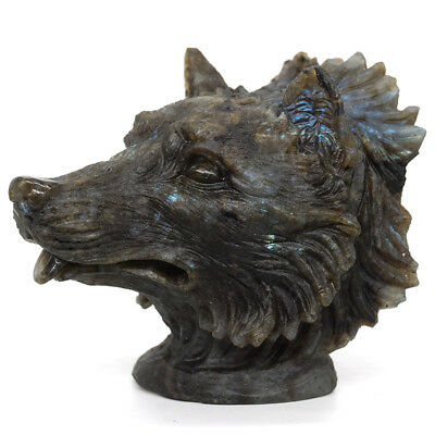 Wolf Head Statue Healing Natural Gemstone Labradorite Carved Stone Art Ornament