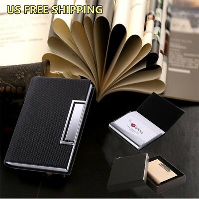Hot Black Leather Stainless Steel Business Card Holder Case Office Gift Men US