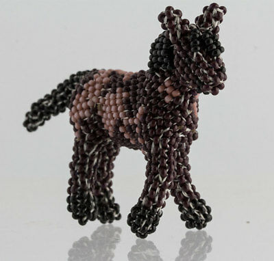 Zuni Native American Southwest Hand Beaded Painted Horse Fetish Mini Statue