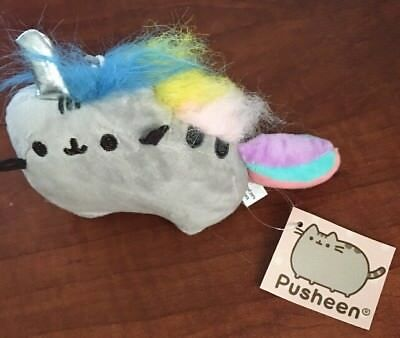 Gund Pusheen Unicorn Back Pack Clip Keychain Pusheenicorn Rainbow Cat Plush NEW!