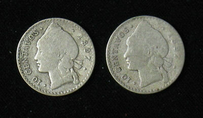 Lot of 2 - 1897 Dominican Republic 10 Centavos silver coins KM#13