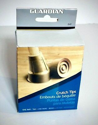 "Guardian Crutch Tips 7/8"", One Pair, Tan - New in Box!"
