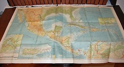 Large Vintage Map Countries of the Caribbean National Geographic Magazine 1922