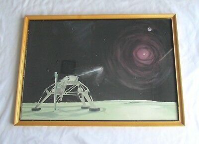 Original 1961 Signed Watercolor Painting of a Si-Fi Lunar Rover by James / NASA