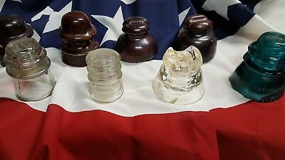 Mixed Lot Of (8) Vintage/antique Glass Electrical/telephone Insulators