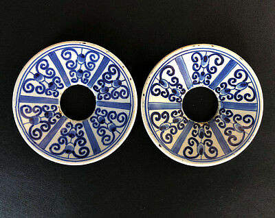 Rare PAIR of delft / delftware CANDLE RINGS / BOBECHE, possibly late 17th C