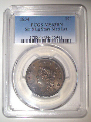 1834 Small 8 Large Stars Med Letters * PCGS MS63 BN * CORONET HEAD LARGE Cent 1c